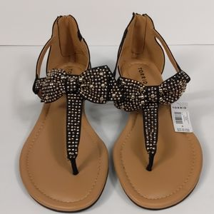 New! Torrid Studded Bow Wedge Sandals Size 9